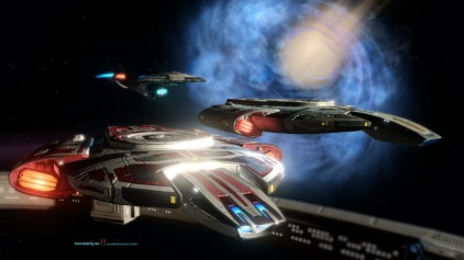During Star Trek Online some of the iconic ships of Deep Space Nine are present in which is the USS Defiant is present with the Odyssey-Yorktown class USS Enterprise F..
