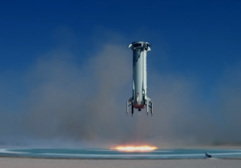 Mission Nine Blue Origin landing of its reusable carrier rocket after a stress testing to see what required modifications that need..