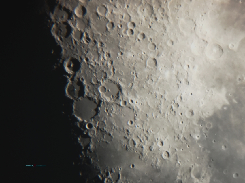 Closer you'll see at first Quarter is the outline crater shadows